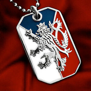 CZECH-FLAG-PENDANT-NECKLACE-BOHEMIAN-LION-CREST-DOG-TAG-BALL-CHAIN-NICKEL-FREE