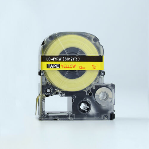 2X Compatible EPSON 12mm LC-4YRW Label Tape Red on Yellow 8m lw300 700 900 lw400