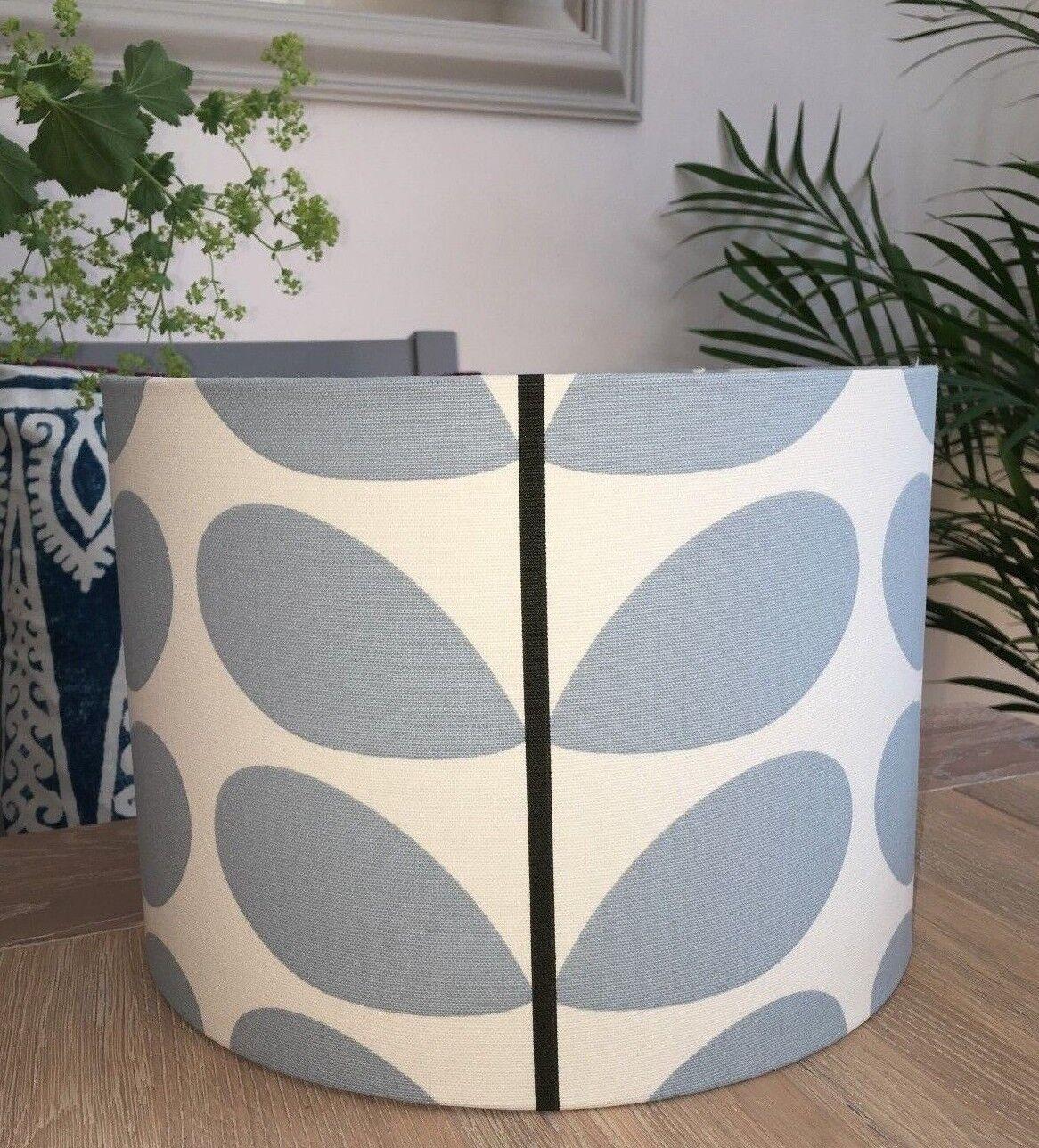 New Handmade Kiely abat-jour en Orla Kiely Handmade Tige Tissu Bleu poudre blanc 66e0b9