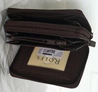 Rolfs Leather Double Zip Around Wallet Attaché Brown Organizer Photo Holder