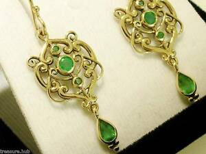 E104-ORNATE-Genuine-9ct-SOLID-Gold-NATURAL-Emerald-Drop-Dangle-Earrings-Filigree