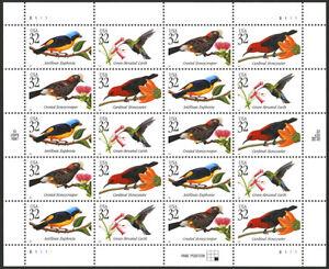US 1998 32c Tropical Birds Sheet of 20 Stamps Scott #3222-25 MNH