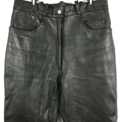 Størrelse Lige Kvindersbukser 12 Læder Sort ben 11 Rx8qA1w0