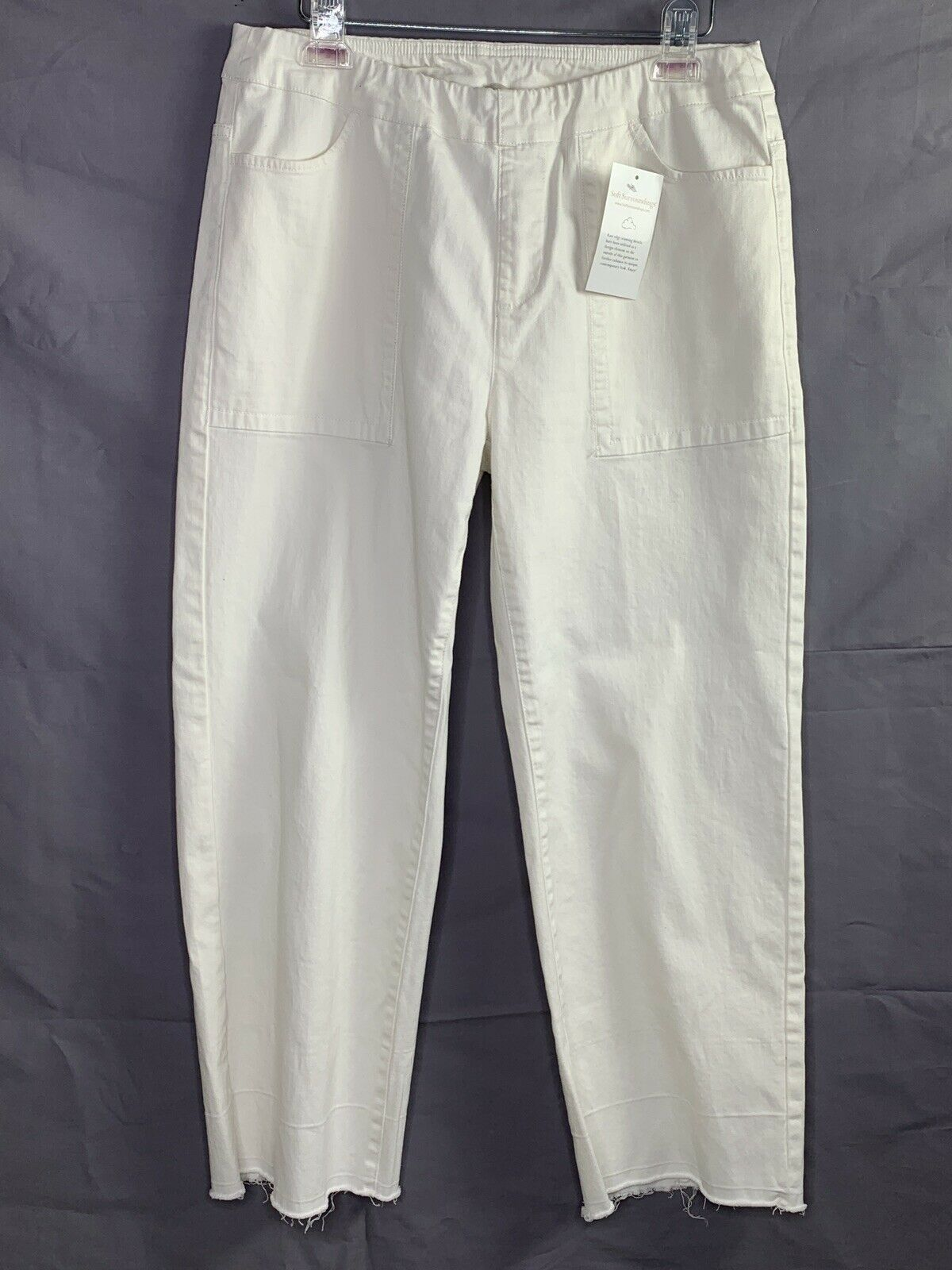 Soft Surroundings White Pull On Pants Size Petite Medium Raw Edge Hem