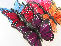 """12 Polyester 1.5"""" Craft Monarch Butterfly w/Wire/Floral Decoration L68-Mix Color"""