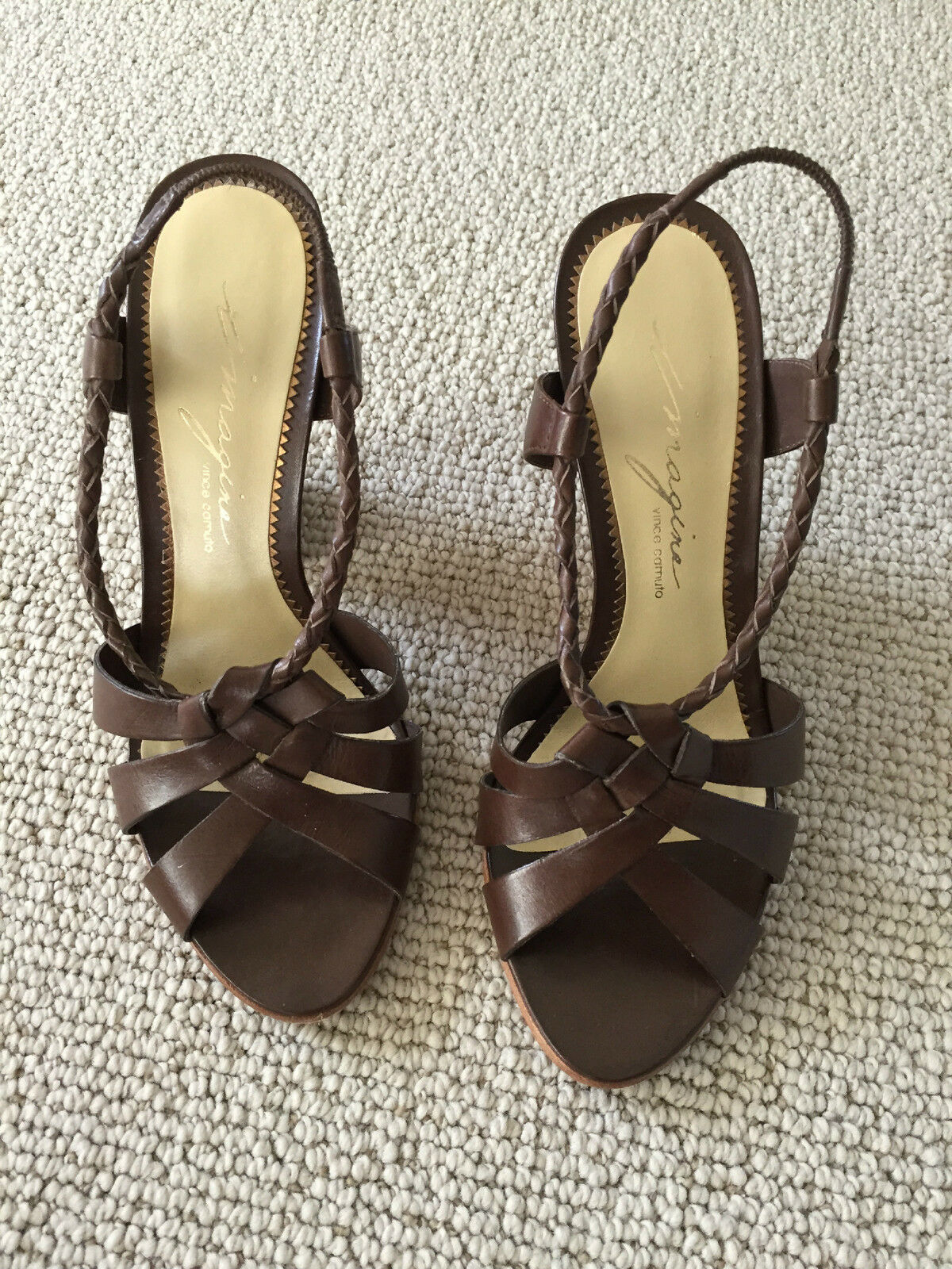 Vince Camuto Imagine brown leather strappy stacked heel sandal shoes size 5.5