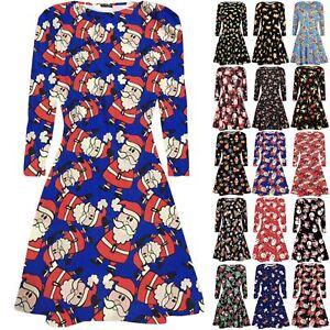 Womens-Ladies-Christmas-Snowman-Swing-Dresses-Xmas-Print-Santa-Reindeer-Dress