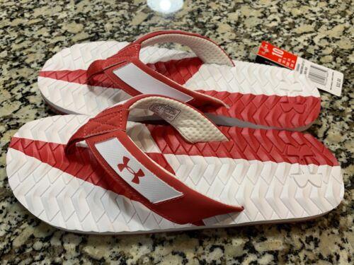 NWT Under Armour UA Men/'s Marathon Key III Thongs Flip Flops Sandel Red//White