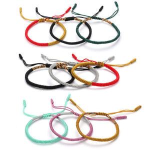 Men-Knitted-Handmade-Silk-Woven-Tibetan-Buddhist-Knots-Lucky-Rope-Bracelet-New