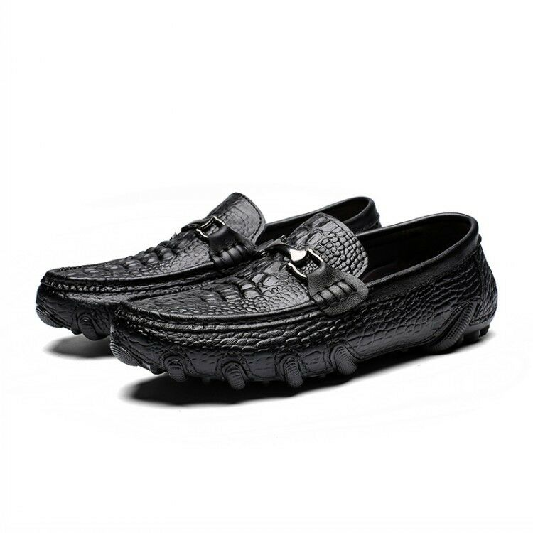2019 New Mens Crocodile Pattern Flats Heel Vintage Leather Casual shoes Driving