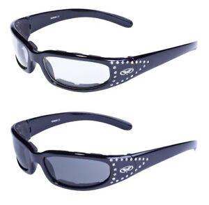2 Women's Cycling Motorcycle Glasses Sunglasses Padded Rhinestones Smoke & Clear