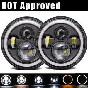 2X-Round-Black-7-034-INCH-75W-LED-DRL-Headlight-Bulb-For-Chevrolet-G10-20-30-C10-20