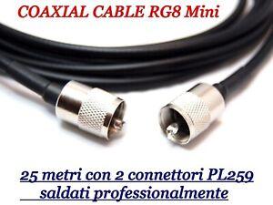 CAVO-COASSIALE-RG8-MINI-METRI-25-INTESTATO-CON-CONNETTORI-PL259-GOLD-PIN