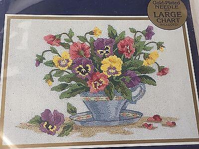 Teacup Pansies Bucilla Embroidery Sealed Kit 42023 Sandy Garbrandt 7 x 5 Gold