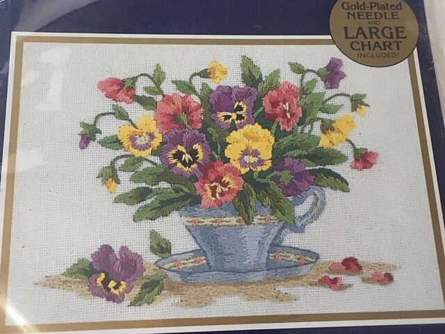 Teacup Pansies Bucilla Embroidery Sealed Kit 42023 Sandy Garbrandt 7 x 5 Gold