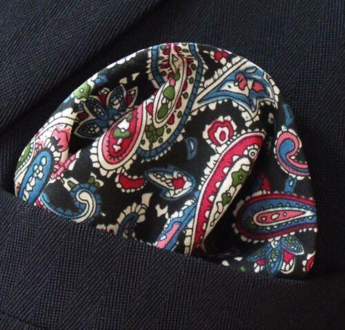 Hankie Pocket Square Cotton Handkerchief Black with Multi Paisley CH129