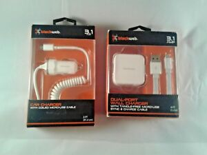 Details about Blackweb 3.1 Amp Dual Port Wall ChargerCar Charger Combo Micro USB Cable White