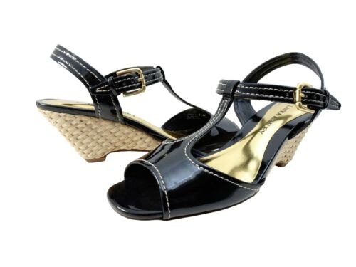 Laura Ashley Womens Journey Open Toe Buckle T-Strap Casual Wedges Heels Sandals