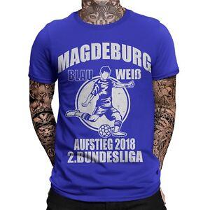 Details Zu Magdeburg Aufstieg T Shirt 2 Liga Blau Weiß Fußball Ultra Fan Shirt Aufsteiger