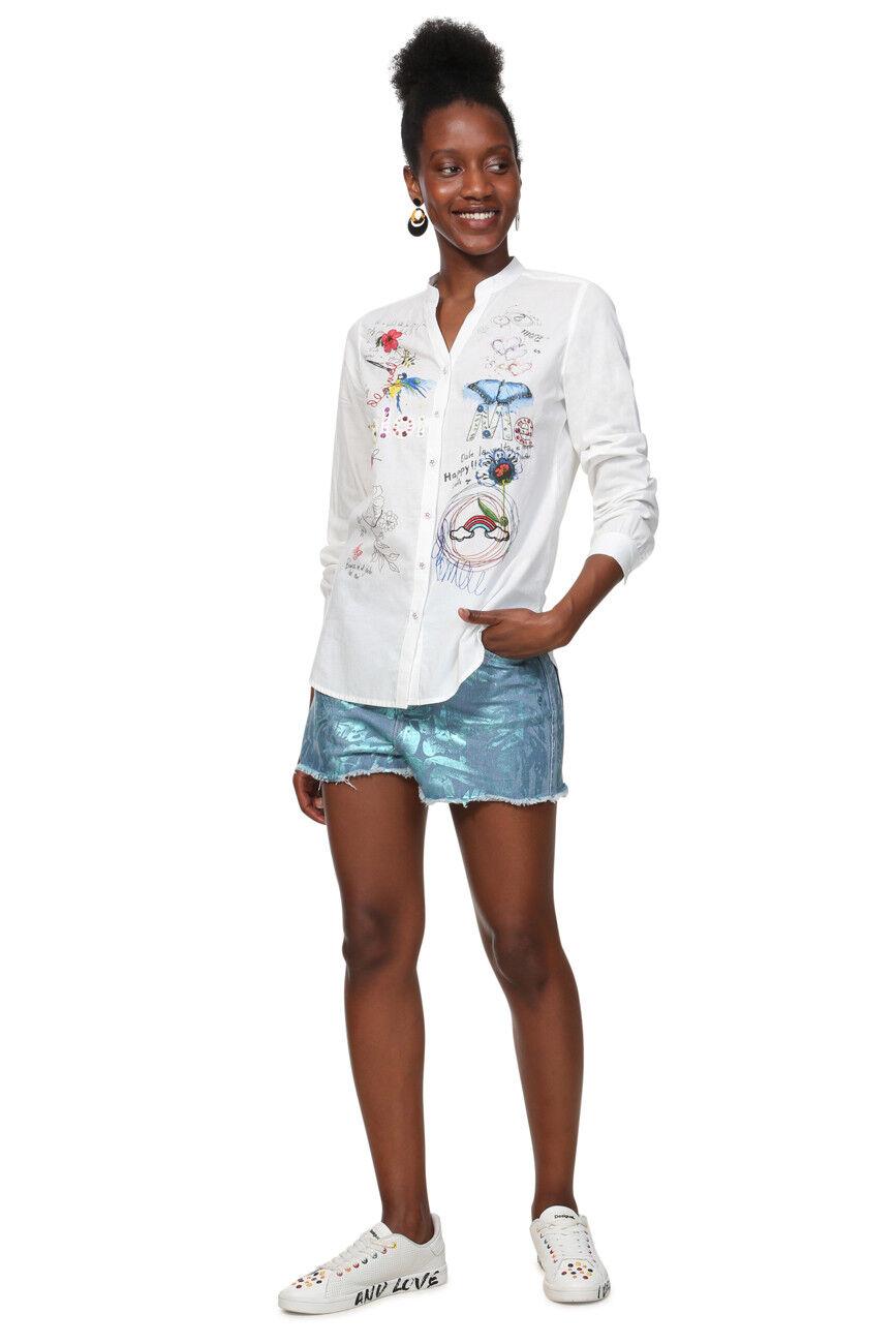 Desigual Weiß Farbeme Writing Embroidery Shirt XS-XXL RRP