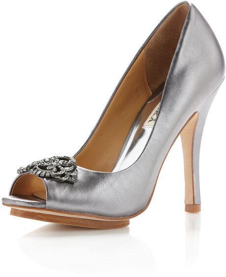 Nuevo En Caja Badgley Mischka Susan Puntera Puntera Puntera Abierta Bomba Zapatos gris Plata Metálico Peltre 7,5  presentando toda la última moda de la calle