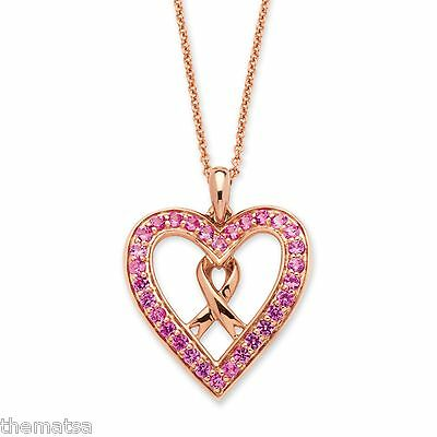 PINK ROSE QUARTZ HEART PENDANT CHARM w// 925 Sterling Silver BREAST CANCER RIBBON