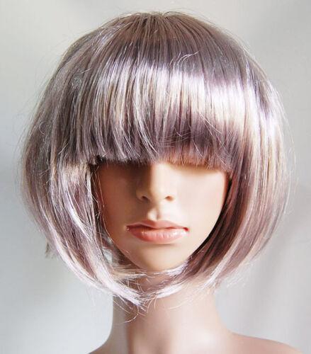 Ladies Short Blonde Brown Purple Bob Fancy Dress Costume Halloween Hen Party Wig