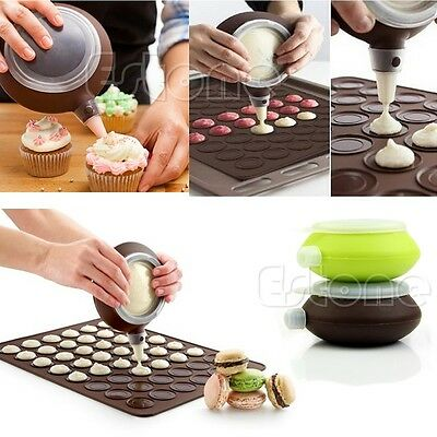 Silicone Macaron Baking Decorating Pen Pastry Cream Set Cake Muffin 3 Nozzle Kit