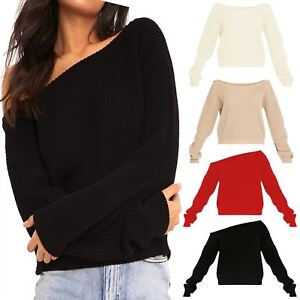 New-Womens-Off-Shoulder-Slash-Neck-Knitted-Cropped-Jumper-Winter-Sweater-Top
