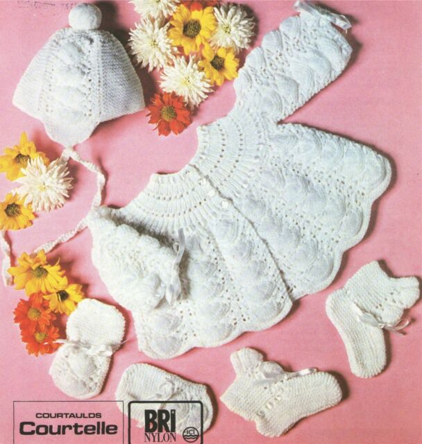 Baby Matinee Jacket Bonnet Mittens Bootees Knitting Pattern : 18 - 19 inch chest