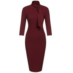 Women-039-s-Bow-Turtleneck-3-4-Sleeve-Solid-Bodycon-Evening-Party-Knee-BRCE