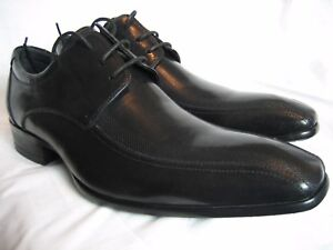 Kenneth-Cole-Men-Black-Leather-Apron-Derby-Shoes-Rubber-Sole-UK-7-BNIB