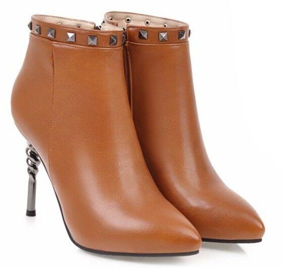 Bottes hiver chaussures talons aiguilles femme comme cuir marron 11 9366