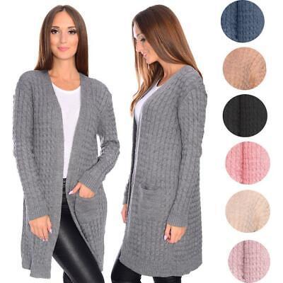 0082 Damen Cardigan Strickjacke Weste Bolero Longshirt Bluse Pullover Jacke
