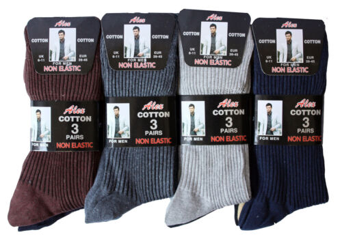 Mens Non Elastic Socks Soft Cotton Loose Wide Socks Travelling Work Wear 12 Pair
