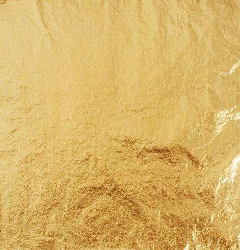 100 x Schlagmetall, Blattmetall, Farbe: Gold 2.0 ,  zum Vergolden, Blattgold
