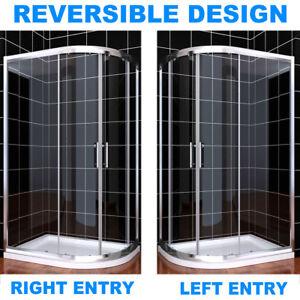 Offset Quadrant Shower Enclosure Walk In Corner Cubicle Glass Door W/ Stone Tray