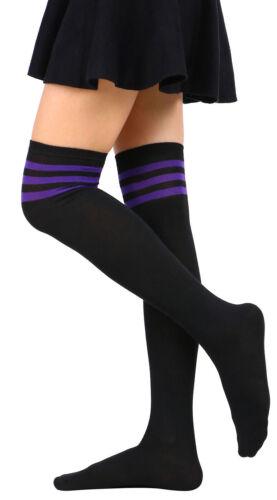 Women Stripe Tube Dresses Over the Knee Thigh High Stockings Cosplay Socks