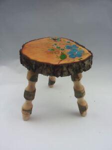 Sgabelli Rustici In Legno.Dettagli Su Sgabello Corteccia Con Fiore Vintage Rustico In Legno Arredo Casa Misura 30x35h