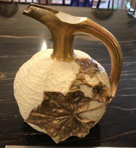 Antique-Worcester-1880s-Porcelain-Melon-Form-Pitcher