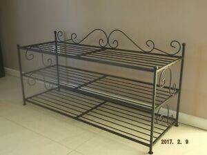 schuhregal schuhschrank schwarz metall neu 90cm ebay. Black Bedroom Furniture Sets. Home Design Ideas