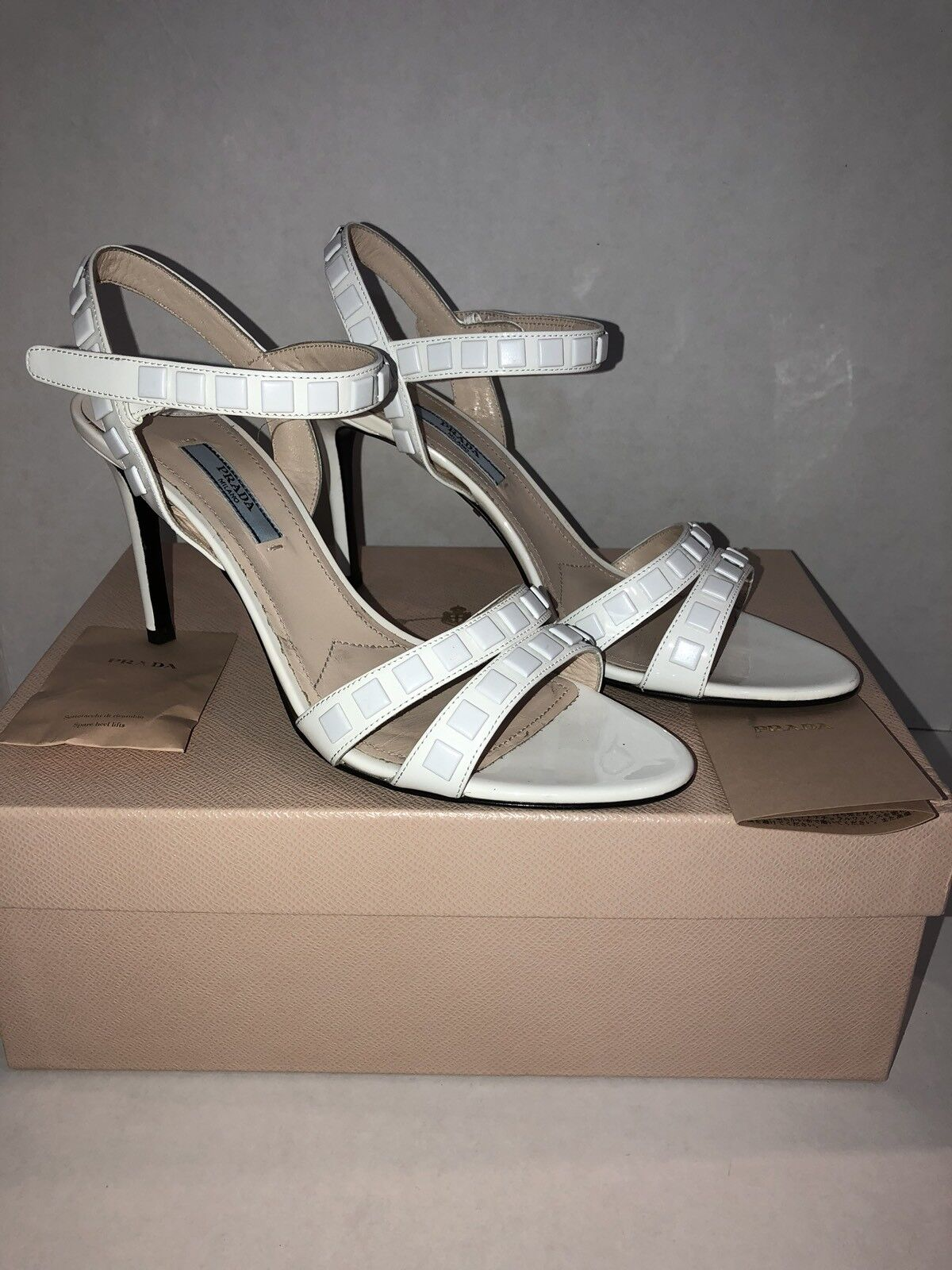 PRADA AUTHENTIC SHOES SANDALS HIGH HEELS WHITE WHITE WHITE NWB MADE IN ITALY bf826d