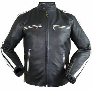 herren motorrad lederjacke biker retro streifen rockerjacke chopper gesteppt. Black Bedroom Furniture Sets. Home Design Ideas