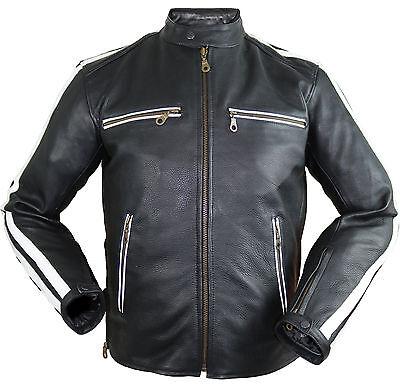 Herren Motorrad Lederjacke Biker Retro Streifen Rockerjacke Chopper Gesteppt Neue Sorten Werden Nacheinander Vorgestellt