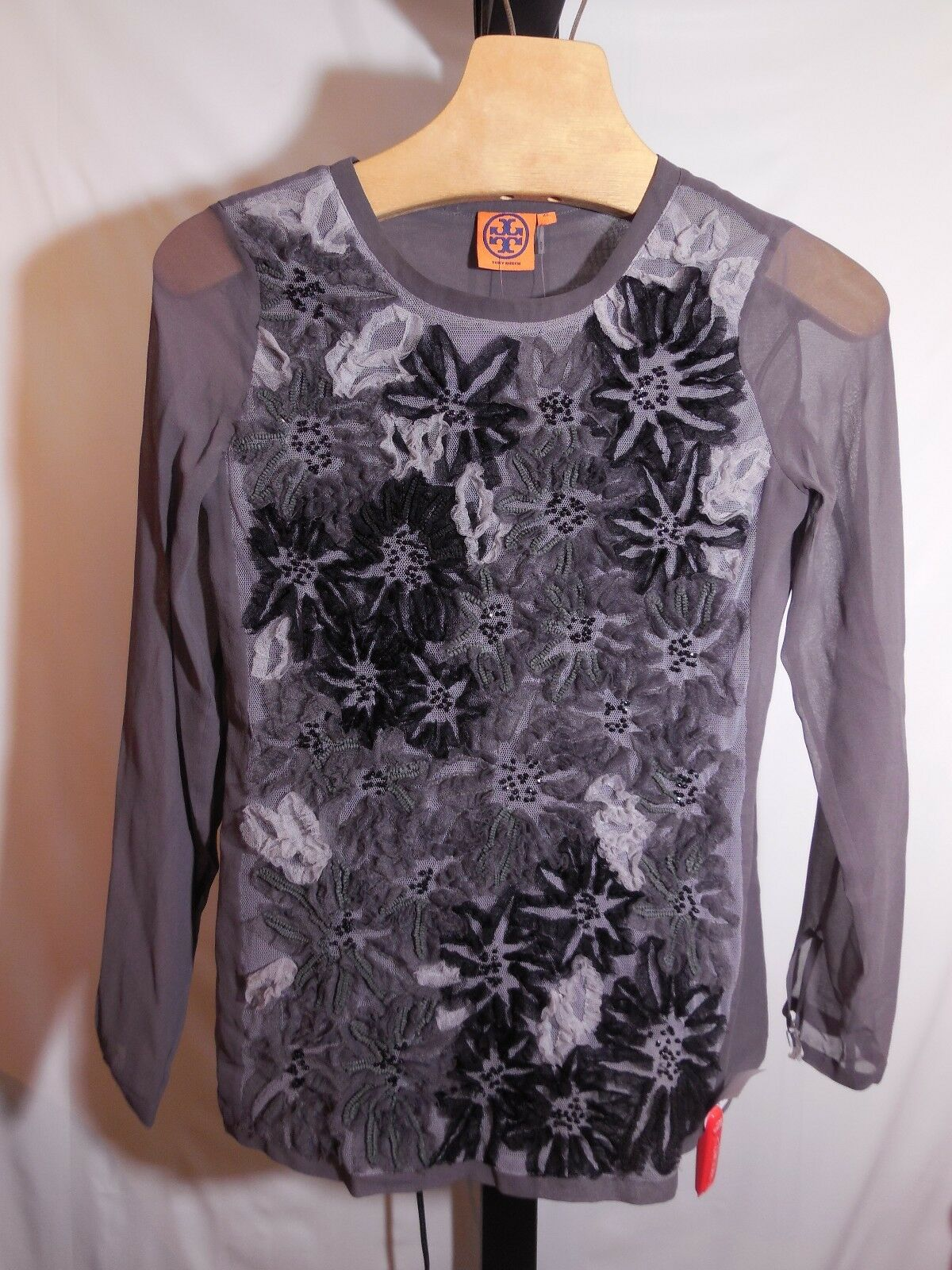 MISSES grau STEEL TULLE BEADED FLORAL ASTOR TUNIC 31121109 TORY BURCH XS 795
