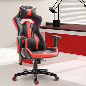 High-Back-Gaming-Chair-Racing-Style-Seat-Swivel-Recliner-PU-Leather-Red
