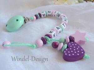 rosa lila Mädchen Schnullerkette mit Namen Baby Geschenk Sterne