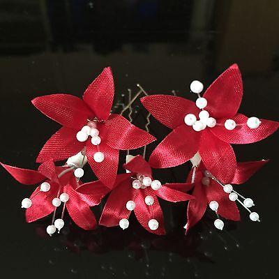 5 Wedding Prom Silver  Lily Flower Hair Pins Grips handmade