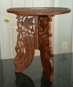 Vintage-Hand-Carved-Small-Wooden-Table-Plant-Stand-Inlaid-Taj-Mahal-India