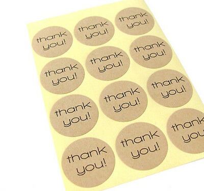 24 x Kraft THANK YOU Sticker Round Labels for Jar Bomboniere Party Gift Favours